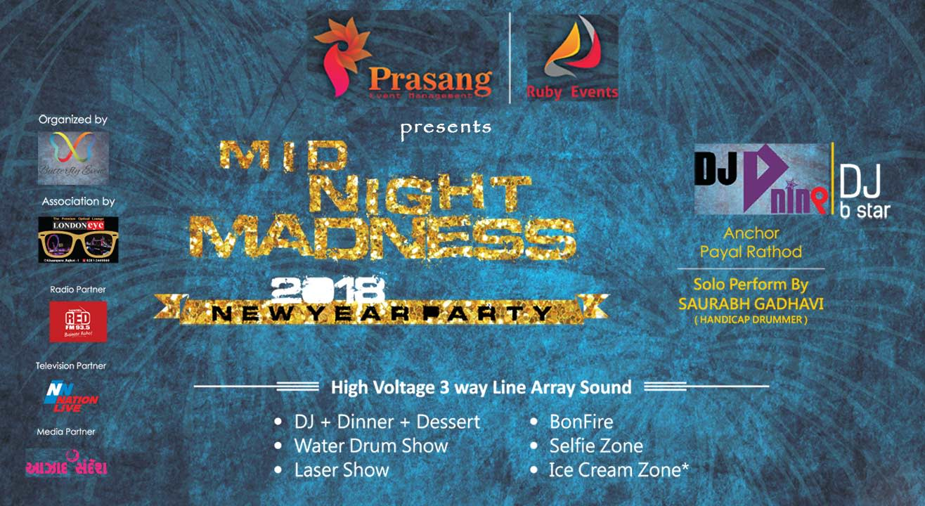 Book tickets to Mid Night Madness 2018 New Year Party