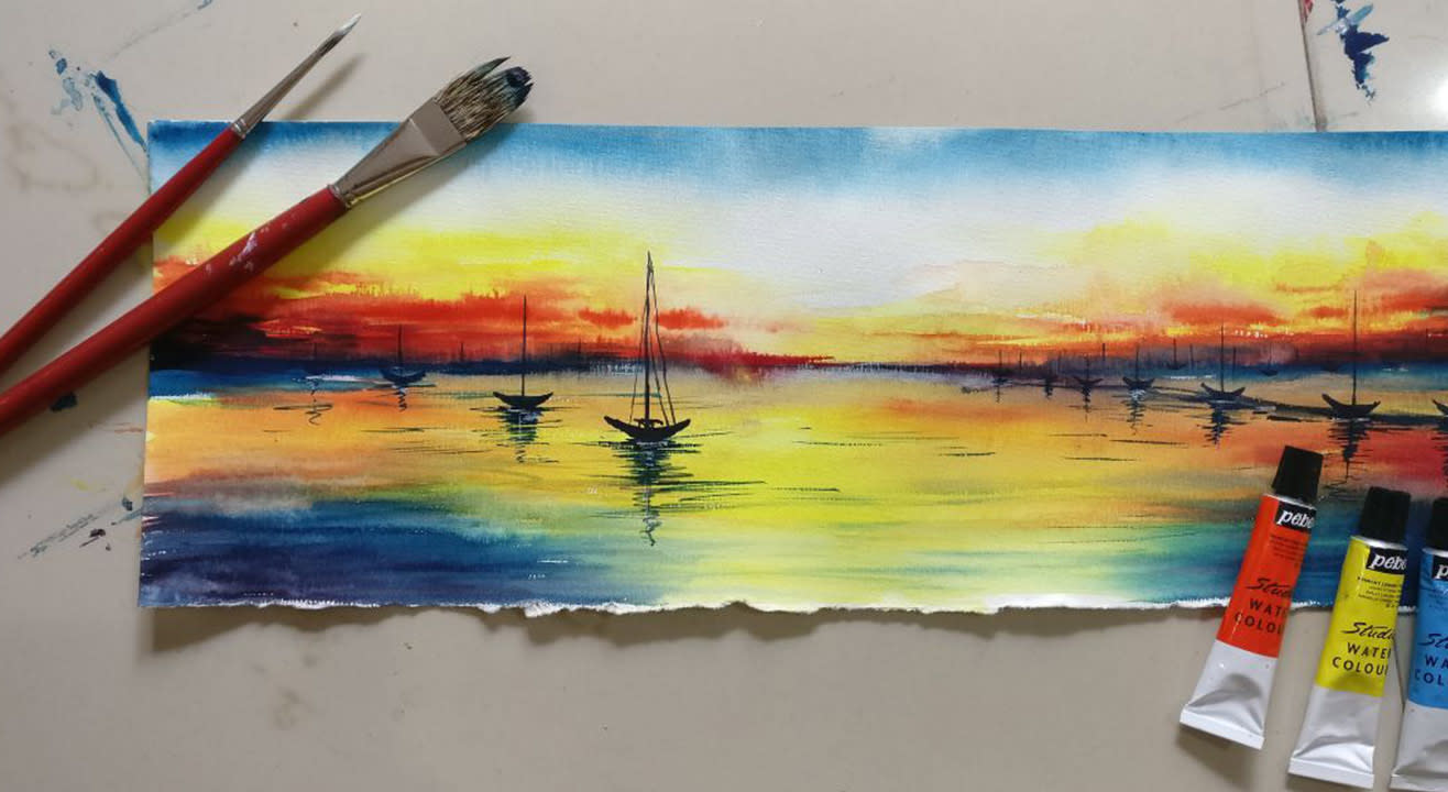 book tickets to watercolor painting workshop reflections