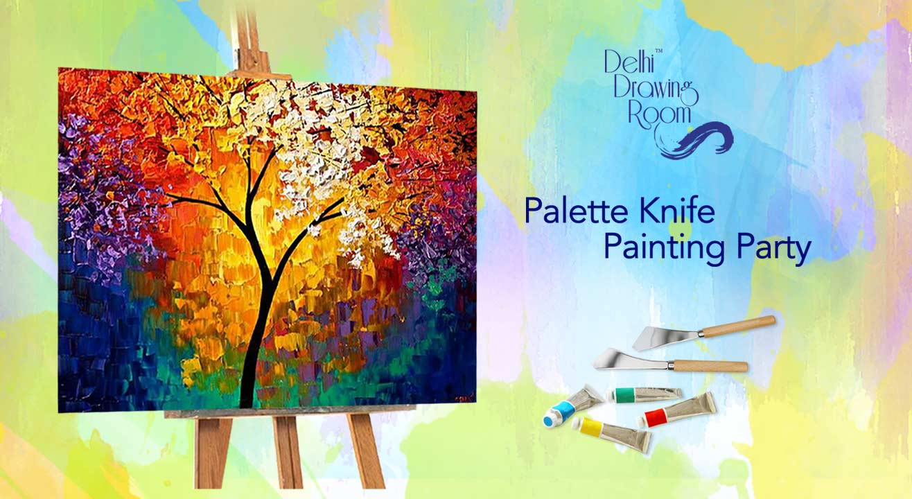 Palette knife painting party by delhi drawing room